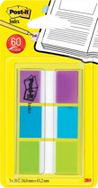Post-it® Index Standaard, Draagbare Set, Paars, Blauw, Groen, 24 x 43.2 mm, 20 Tabs/Kleur
