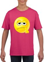 Smiley/ emoticon t-shirt bedenkelijk roze kinderen L (146-152)