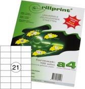 Rillprint Etiketten - type 89113 - Afmeting  70 x 42,4 mm - 21 op een vel A4 -  100 vel per pak - 2100 etiketten - Geschikt voor Kopieermachines, Laser en Inkjet -printers