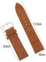 Horlogebandje Leer 10mm - Croco Band + Push Pin - Kalfsleer Horlogeband - Donker Bruin