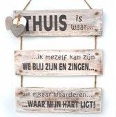 """Wandborden Hout Spreukbord """"thuis is waar .."""" Woondecoratie Cadeau Verjaardag"""