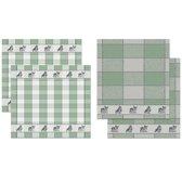 DDDDD Joep - 2 Theedoeken & 2 Keukendoeken Set - Groen - 2 x 2 stuks