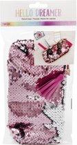 American Crafts - Hello Dreamer Embellishment - Pencil Case - Flip Sequins - Pink & Silver