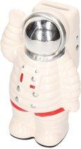 Spaarpot astronaut wit van keramiek 18 cm - Astronauten/ruimte/space spaarpotten - Cadeau idee