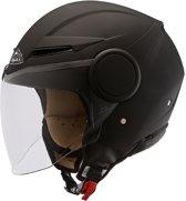 Helm Scooter/Moter -SMK Streem- Mat -Zwart-Maat S - ECE 22-05 certificering - Comfortabel - Breath deflector- 100% UV-protectie - Microlock kinbandsluiting - breed zichtveld