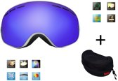 Ski bril + hard case lens Smoke Bleu frame Wit F type 2 Cat. 0 tot 4 - ☀/☁ extra lens is optie.