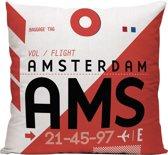 AMS (Luchthaven Schiphol, Amsterdam) - Sierkussen - 40 x 40 cm - Reizen / Vakantie - Reisliefhebbers - Voor op de bank/bed
