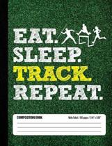 Eat Sleep Track Repeat Composition Book, Wide Ruled, 100 pages 7.44 x 9.69