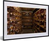 Foto in lijst - Een wijnkelder fotolijst zwart met witte passe-partout 60x40 cm - Poster in lijst (Wanddecoratie woonkamer / slaapkamer)