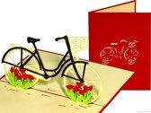 Popcards popupkaarten - Hollandse fiets met vrolijke bloemen pop-up kaart