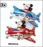 2x Folie ballon Mickey on plain 80x63cm