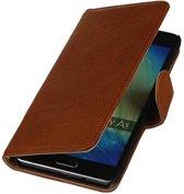 Mobieletelefoonhoesje.nl - Samsung Galaxy A5 Hoesje Washed Leer Bookstyle Bruin