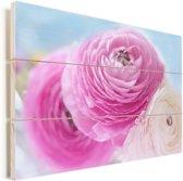 Roze en witte boterbloemen Vurenhout met planken 60x40 cm - Foto print op Hout (Wanddecoratie)