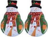Bellatio Decorations kerst borden/serveerschalen - sneeuwpop - 28 x 18 cm - 2 stuks