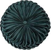 Fluwelen Kussen Ottoman – Rond – Donker Groen – Velvet (incl. vulling)