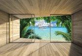 Fotobehang Window Beach Tropical Paradise Ship | XXL - 312cm x 219cm | 130g/m2 Vlies