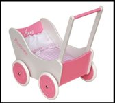 Pallas poppenwagen roze wit