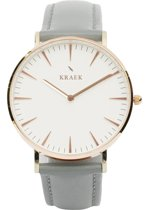 KRAEK Phoenix Rosé Goud Wit 36 mm - Dames Horloge - Grijs horlogebandje