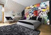 Fotobehang Papier Graffiti | Groen, Geel | 368x254cm