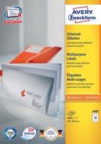 2x Avery witte etiketten QuickPeel 70x29,7mm (bxh), 3.000 stuks, 30 per blad, doos a 100 blad