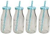 4x Blauw/witte glazen drink flesjes met rietje 300 ml