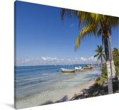 Het strand van het Noord-Amerikaanse Isla Mujeres met boten Canvas 140x90 cm - Foto print op Canvas schilderij (Wanddecoratie woonkamer / slaapkamer)