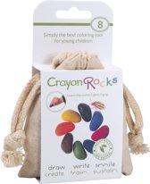 Crayon Rocks - ecologische niet giftige waskrijtjes, pengreep stimulerend - 8 kleuren in een katoenen zakje