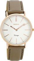 OOZOO Vintage Taupe/Wit horloge C8143