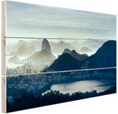 Guanabara baai Rio de Janeiro Hout 60x40 cm - Foto print op Hout (Wanddecoratie)