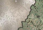 Fotobehang Floral Pattern Abstract Green   XXXL - 416cm x 254cm   130g/m2 Vlies