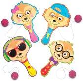 Batje met bal en stokstaartje voor kinderen - Een leuk cadeau voor uitdeelzakjes voor kinderen (4 stuks per verpakking)