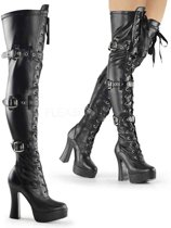 EU 36 = US 6 | ELECTRA-3028 | 5 Stack Heel, 1 1/2 PF Front Lace-Up Thigh Boot