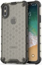 Apple iPhone XS Hybride Honinggraat Hoesje Transparant Zwart
