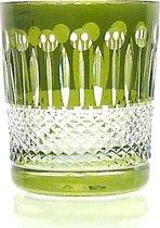 Kristallen whiskeyglazen  - Whiskyglas CHRISTINE - olive green - set van 2 glazen - gekleurd kristal