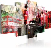 Schilderij - Gedachten aan Londen, Rood, 2 Maten, 5luik