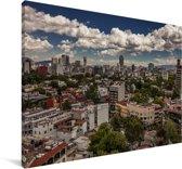 Witte wolken boven Mexico-stad Canvas 180x120 cm - Foto print op Canvas schilderij (Wanddecoratie woonkamer / slaapkamer) XXL / Groot formaat!