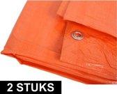 2x Oranje afdekzeilen / dekzeilen - 8 x 12 meter - Dekkleed / zeil