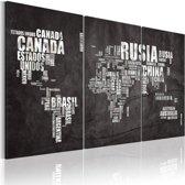 Schilderij - Kaart van de Wereld (Spaans), Zwart-Wit, 2 Maten, 3Luik