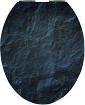 EISL WC-Bril EDHGBS01 - High Gloss - MDF-Hout - Soft Close - Verchroomde Scharnieren - Decor -2-zijdige Print - Black Stone