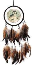 Dromenvanger - Dreamcatcher - Native Wild Wolf - 15CM Diameter - 60CM Lengte