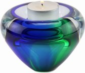 "Glazen urn. Asbestemming. ""Tealight"" groen-blauw. Afmeting 7 cm."