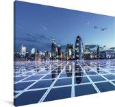 Blauw gekleurd Beijing Canvas 120x80 cm - Foto print op Canvas schilderij (Wanddecoratie woonkamer / slaapkamer)