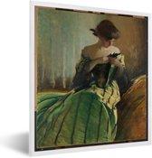 Foto in lijst - Study in Black and Green - Schilderij van John White Alexander fotolijst wit 40x50 cm - Poster in lijst (Wanddecoratie woonkamer / slaapkamer)