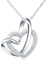 Fate Jewellery Ketting FJ445 - Interlocking Heart - Zilver - 45cm