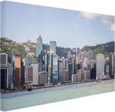 Skyline en bergen Canvas 80x60 cm - Foto print op Canvas schilderij (Wanddecoratie)