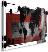 Schilderij - Wereldkaart in bordeaux rood, wit en zwart