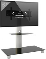 TV meubel TV standaard Standol draaibaar verrijdbaar zilver/zwart glas