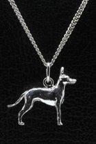 Zilveren Black and tan toy terrier ketting hanger - groot