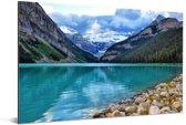 Meer in het Nationaal park Banff in Alberta Aluminium 30x20 cm - klein - Foto print op Aluminium (metaal wanddecoratie)