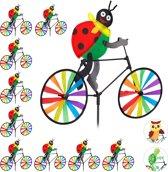 relaxdays 10 x windmolen lieveheersbeestje fiets - windspel - tuinsteker - tuin - kinderen